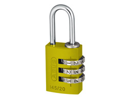 Yellow Aluminium Combination Padlock 20mm