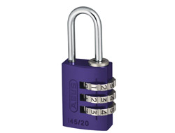 Lilac Aluminium Combination Padlock 20mm