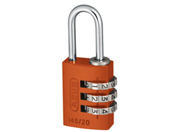 Orange Aluminium Combination Padlock 20mm