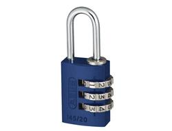 Blue Aluminium Combination Padlock 20mm