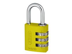 Yellow Aluminium Combination Padlock (30mm)