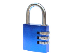 Branded Aluminium Combination Padlock Blue