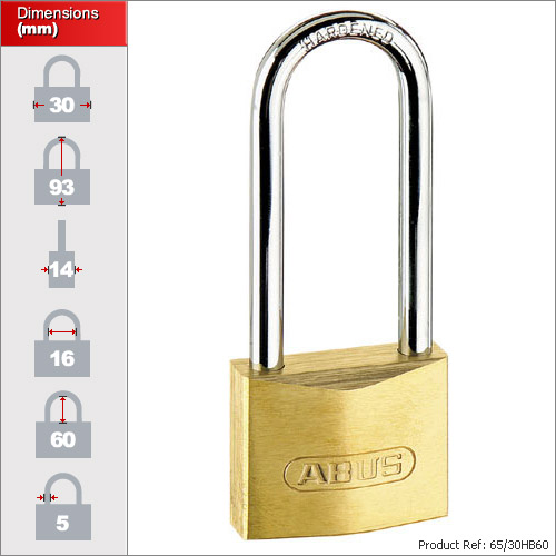 Abus 65 30hb60 Small Long Shackle Padlock 30mm