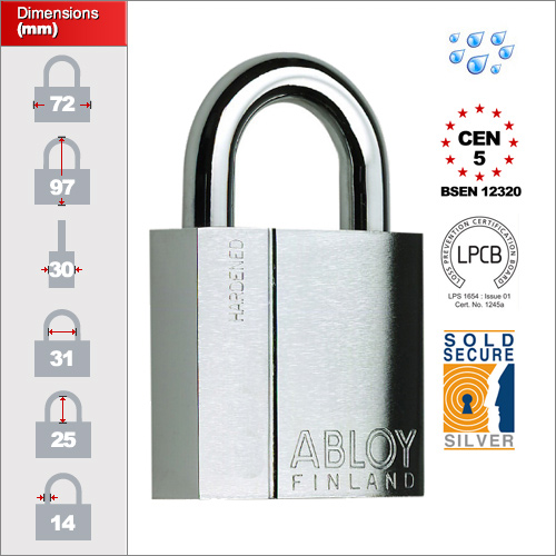 MILITARY TYPE KEYWAY PADLOCK w// 4KEYS ABLOY PL-350NX PROTEC HIGH SECURITY LOCK